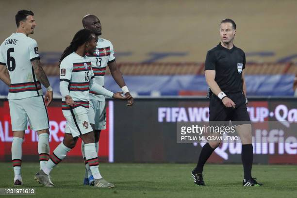Portugal's midfielder Renato Sanches argues with Dutch referee Danny Desmond Makkelie during the FIFA World Cup Qatar 2022 qualification Group A...