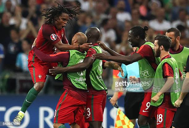 Portugal's midfielder Renato Sanches celebrates after scoring during the Euro 2016 quarterfinal football match between Poland and Portugal at the...