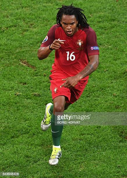 Portugal's midfielder Renato Sanches celebrates after scoring during the Euro 2016 quarter-final football match between Poland and Portugal at the...