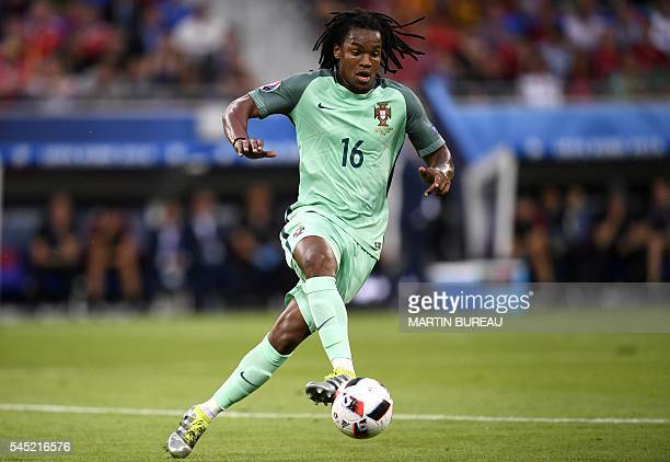 Portugal's midfielder Renato Sanches plays the ball during the Euro 2016 semifinal football match between Portugal and Wales at the Parc Olympique...