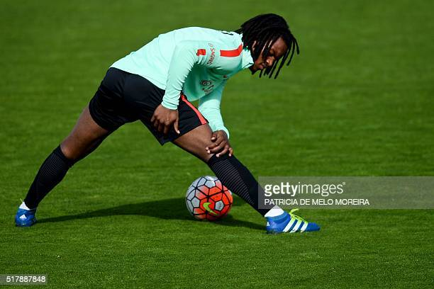Portugal's midfielder Renato Sanches takes part in a training session at Restelo stadium in Lisbon on March 28 on the eve of the friendly football...