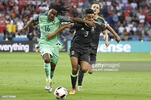 TOPSHOT Portugal's midfielder Renato Sanches vies for the ball against Wales' defender Neil Taylor during the Euro 2016 semifinal football match...