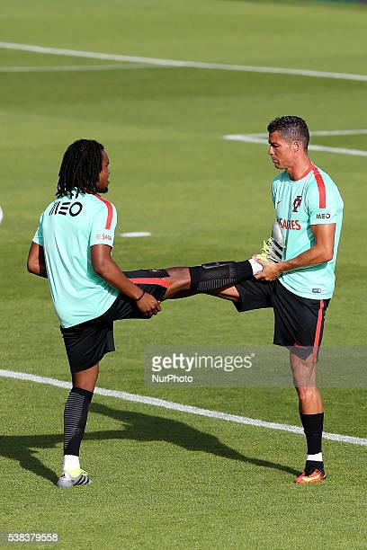 Portugals midfielder Renato Sanches with Portugals forward Cristiano Ronaldo in action during Portugal's National Team Press Conference and Training...