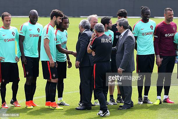 Portugals midfielder Renato Sanches with Portugal's Prime Minister Antonio Costa during a Portugal training session in preparation for Euro 2016 at...