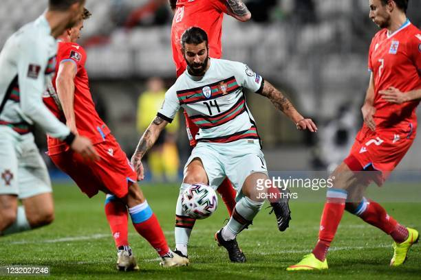 Portugal's midfielder Sergio Oliveira controls the ball during the FIFA World Cup Qatar 2022 qualification Group A football match between Luxembourg...