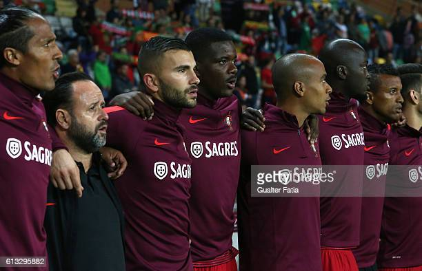 Portugal's midfielder William Carvalho and Portugal's goalkeeper Anthony Lopes with teammates before the start of the FIFA 2018 World Cup Qualifier...