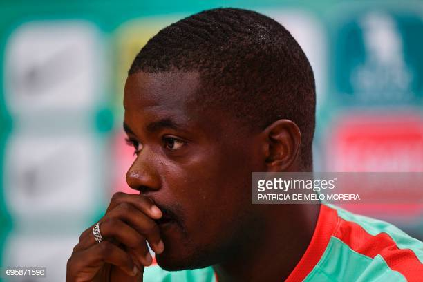 Portugal's midfielder William de Carvalho looks on during a press conference at 'Cidade do Futebol' training camp in Oeiras outskirts of Lisbon on...