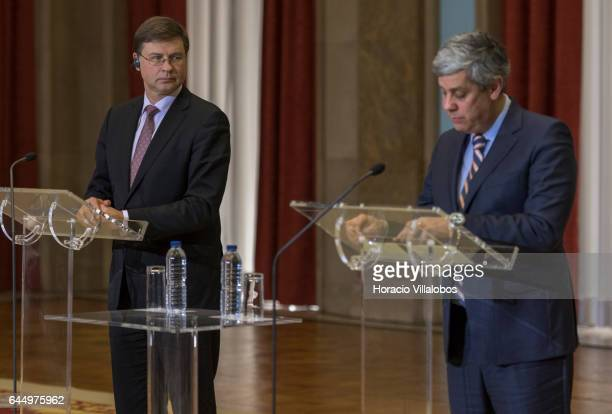 Portugal's Minister of Finance Mario Centeno addresses journalists during a joint press conference with EU Commission Vice President Valdis...