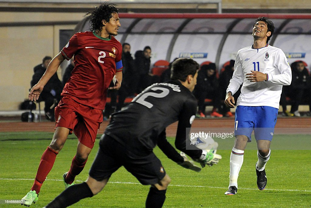 Portugal's national football team defender Bruno Alves (L) is in action against Azerbaijan's national football team during their 2014 World Cup qualifying football match at Tofig Bahramov stadium in the Azerbaijan's capital Baku, on March 26, 2013.