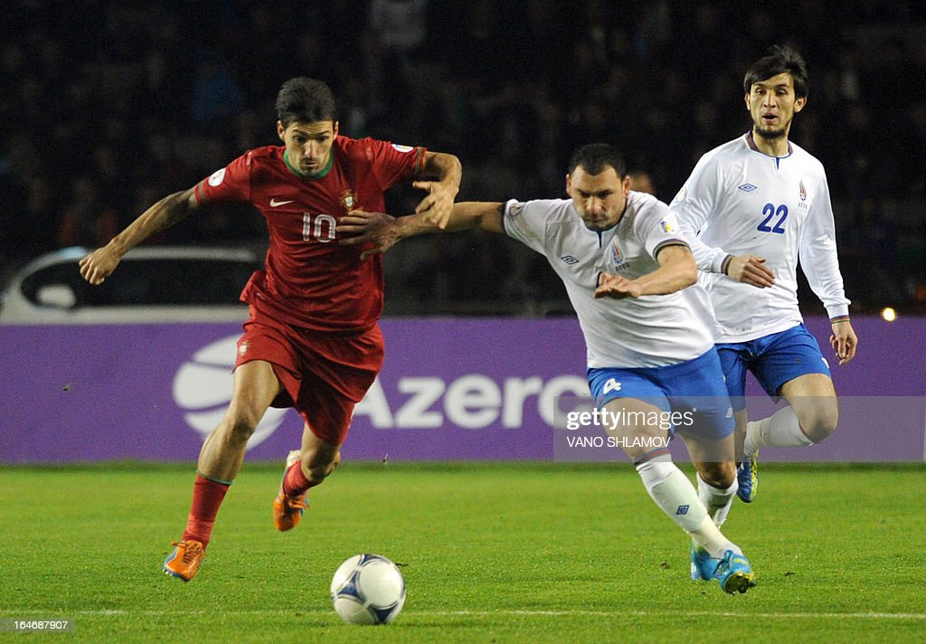 Portugal's national football team forward Danny (L) vies with Azerbaijan's national football team defender Mahir Sukurov (R) during their 2014 World Cup qualifying football match at Tofig Bahramov stadium in the Azerbaijan's capital Baku, on March 26, 2013.