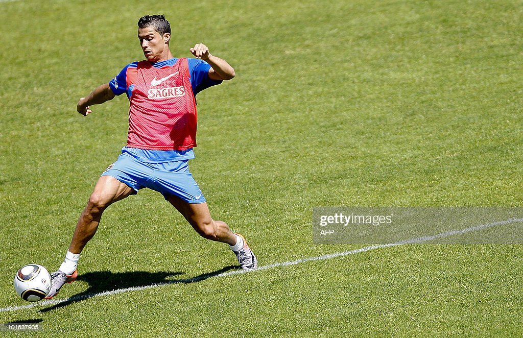 Portugal's national football team player Cristiano Ronaldo takes part in a training session in Massama, near Lisbon, on June 5, 2010 to prepare for the FIFA 2010 World Cup in South Africa.
