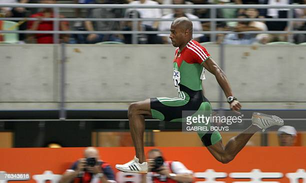 Portugal's Nelson Evora competes during the men's triple jump final 27 August 2007 at the 11th IAAF World Athletics Championships in Osaka Portugal's...
