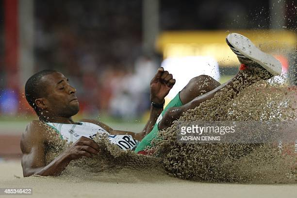 Portugal's Nelson Evora competes in the final of the men's triple jump athletics event at the 2015 IAAF World Championships at the 'Bird's Nest'...