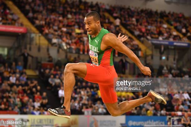 Portugal's Nelson Evora competes in the mens triple jump final at the 2019 European Athletics Indoor Championships in Glasgow on March 3 2019