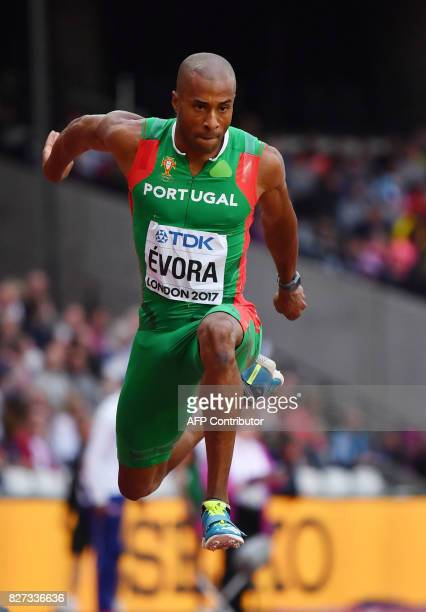 Portugal's Nelson Evora competes in the qualifying round of the men's triple jump athletics event at the 2017 IAAF World Championships at the London...
