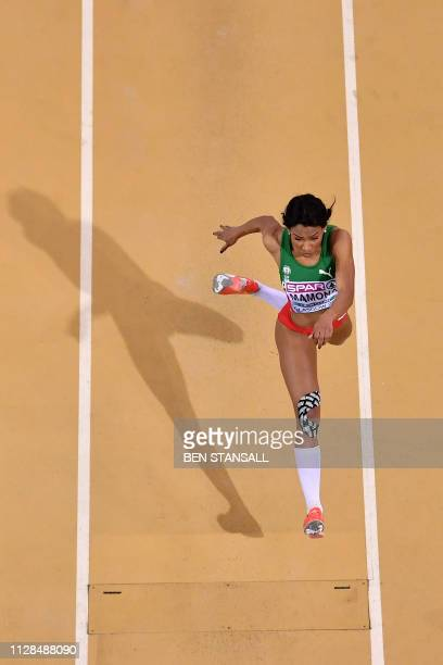 Portugal's Patricia Mamona competes in the womens triple jump final at the 2019 European Athletics Indoor Championships in Glasgow on March 3, 2019.