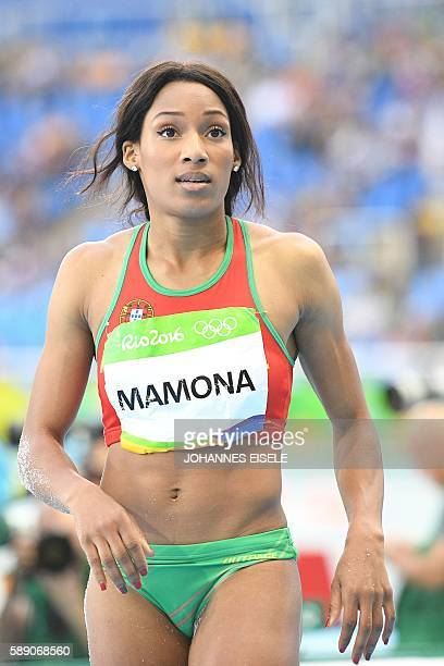 Portugals Patricia Mamona Competes In The Womens Triple Jump Qualifying Round During The Athletics Event At
