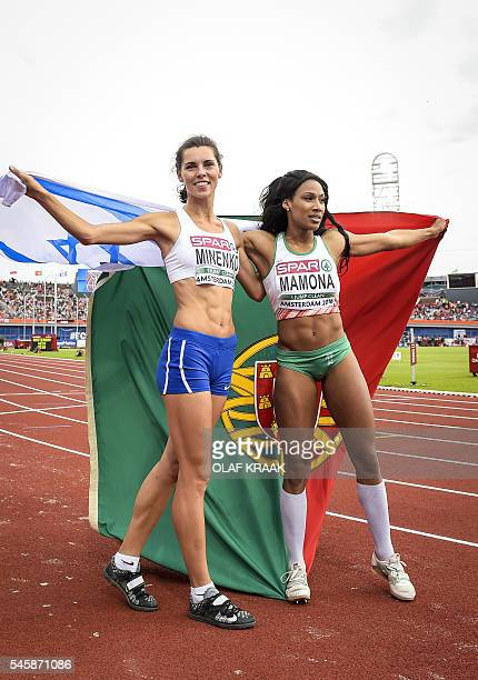 OUT*** Portugal's Patricia Momona and Israel's Hanna Minenko pose after the women's Triple Jump Final of the European Athletics Championships at the...