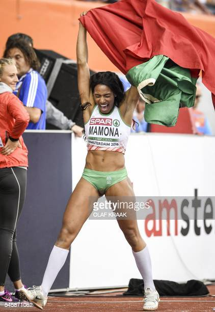 OUT*** Portugal's Patricia Momona reacts winning after the women's Triple Jump Final of the European Athletics Championships at the Olympic Stadium...