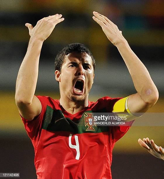 Portugal's player captain Nuno Reis celebrates their victory over Argentina after their FIFA World Cup U20 football match at Jaime Moron Olimpic...