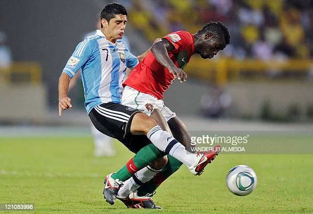 Portugal´s player Pele vies for the ball with Matias Laba of Argentina during their FIFA World Cup U20 football match at Jaime Moron Olimpic stadium...