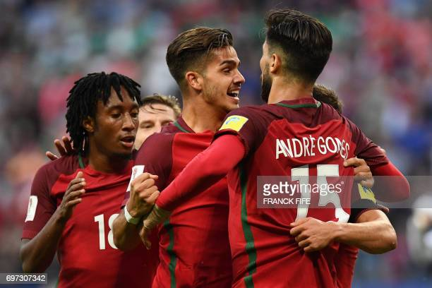 TOPSHOT Portugal#s players celebrate after Portugal's defender Cedric scored during the 2017 Confederations Cup group A football match between...