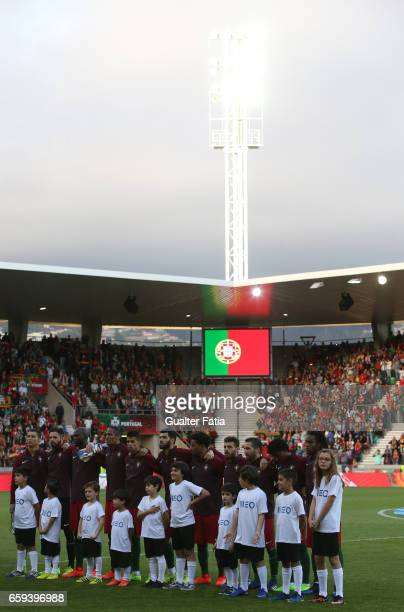 Portugal's players lined up during the national anthem before the start of the International Friendly match between Portugal and Sweden at Estadio...