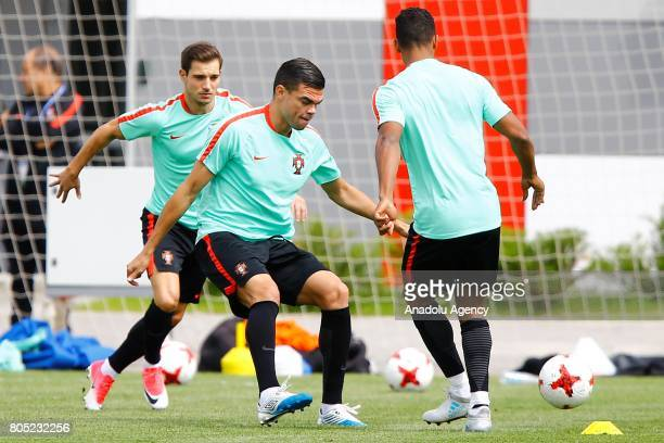 Portugal's players Pepe and Nani attend a training session ahead of FIFA Confederations Cup 2017 in Moscow Russia on July 01 2017 Portugal take on...