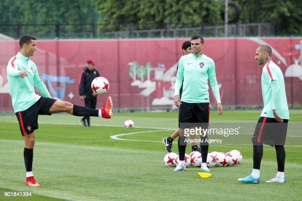 Portugal's players Pepe Ricardo Quaresma and Cristiano Ronaldo attend a training session ahead of FIFA Confederations Cup 2017 football match against...