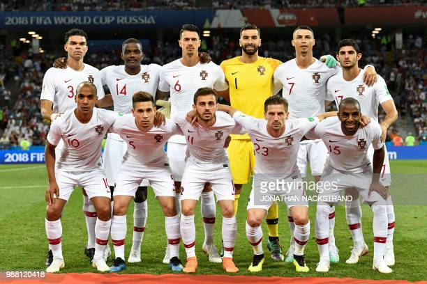 Portugal's players pose ahead of the Russia 2018 World Cup round of 16 football match between Uruguay and Portugal at the Fisht Stadium in Sochi on...
