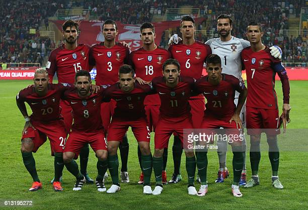 Portugal's players pose for a team photo before the start of the FIFA 2018 World Cup Qualifier match between Portugal and Andorra at Estadio...