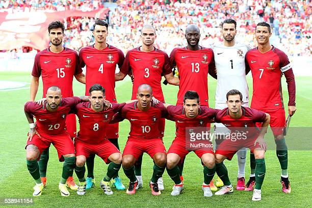 Portugal's players pose for a team photo before the start of the International Friendly match between Portugal and Estonia at Estadio da Luz on June...