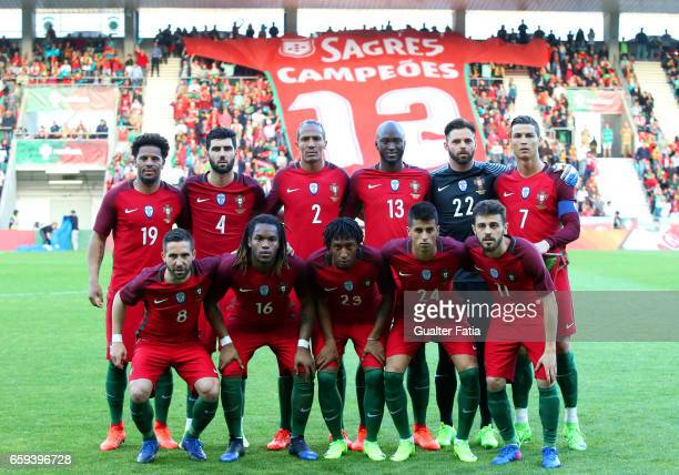 Portugal's players pose for a team photo before the start of the International Friendly match between Portugal and Sweden at Estadio dos Barreiros on...