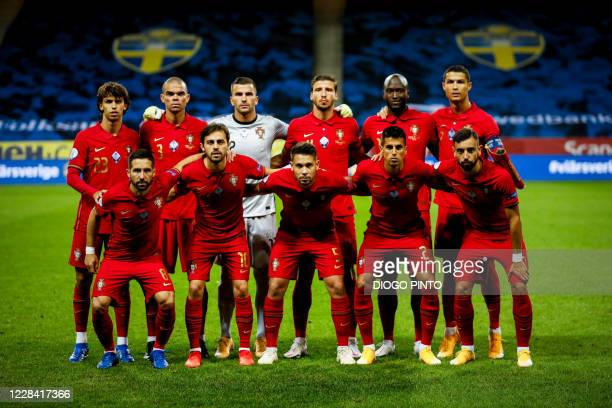 Portugal's players pose for a team photo prior to the UEFA Nations League football match between Sweden and Portugal on September 8, 2020 in Solna,...