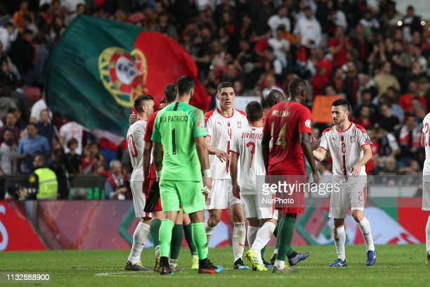 Portugal's players shake hands with Serbia's players after the UEFA EURO 2020 group B qualifying football match Portugal vs Serbia at the Luz Stadium...