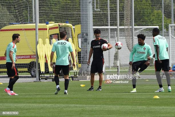 Portugal's players take part in a training session in Moscow on June 30 2017 ahead of the 2017 FIFA Confederations Cup third place football match...