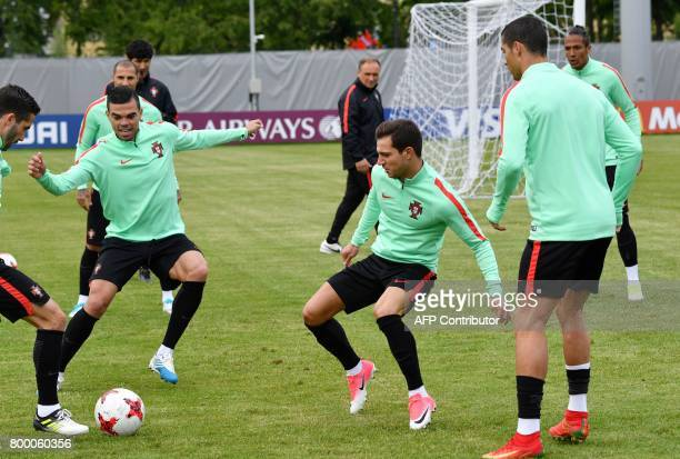 Portugal's players take part in a training session in Saint Petersburg on June 23 2017 on the eve of the 2017 FIFA Confederations Cup group A...