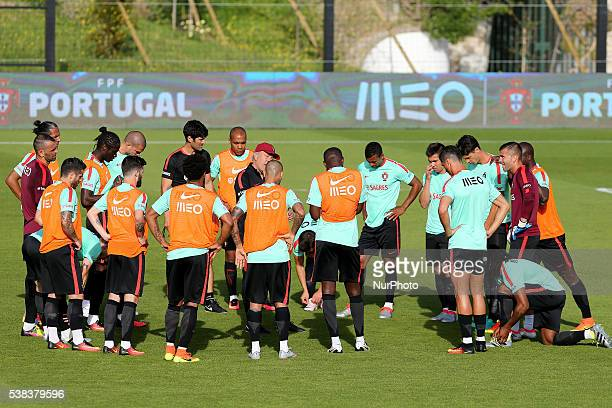 Portugal's players warm up during training session in preparation for the Euro 2016 at FPF Cidade do Futebol on June 5 2016 in Oeiras Portugal