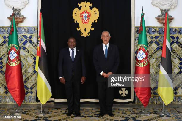 Portugal's President Marcelo Rebelo de Sousa and Mozambique's president Filipe Nyusi pose for a photo before their meeting at the Belem Palace in...