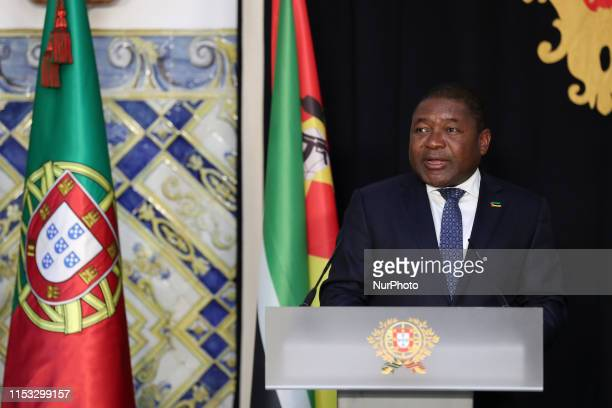 Portugal's President Marcelo Rebelo de Sousa and Mozambique's president Filipe Nyusi give a joint statement to the press after their meeting at the...