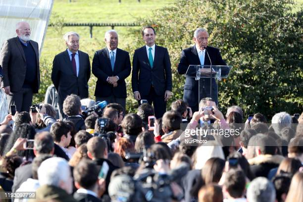 Portugal's President Marcelo Rebelo de Sousa delivers a speech during the opening ceremony of the Lisbon European Green Capital 2020 at Parque...