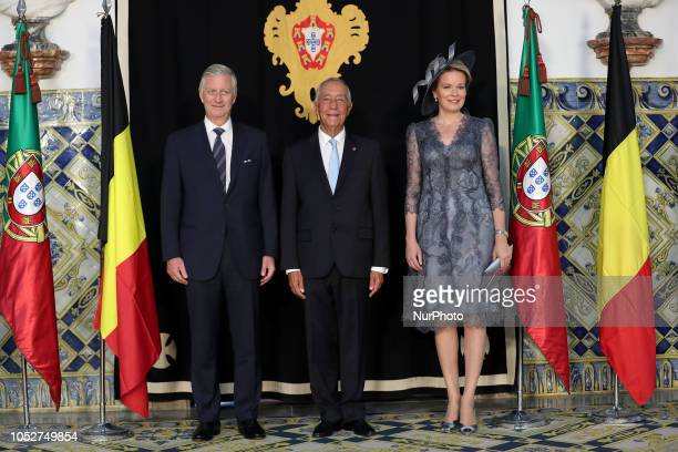 Portugal's President Marcelo Rebelo de Sousa King Philippe of Belgium and Queen Mathilde of Belgium pose for a photo during a welcome ceremony at the...
