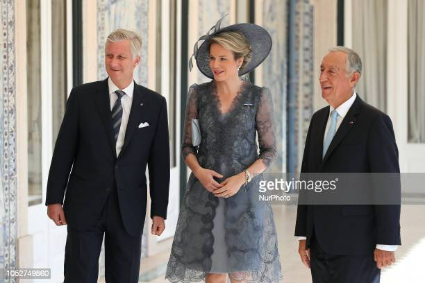 Portugal's President Marcelo Rebelo de Sousa King Philippe of Belgium and Queen Mathilde of Belgium chat during their meeting at the Belem Palace in...