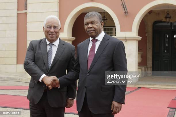 Portugal's Prime Minister Antonio Costa and Angolan President Joao Lourenco shake hands in Luanda on September 18 2018 President Joao Lourenco and...