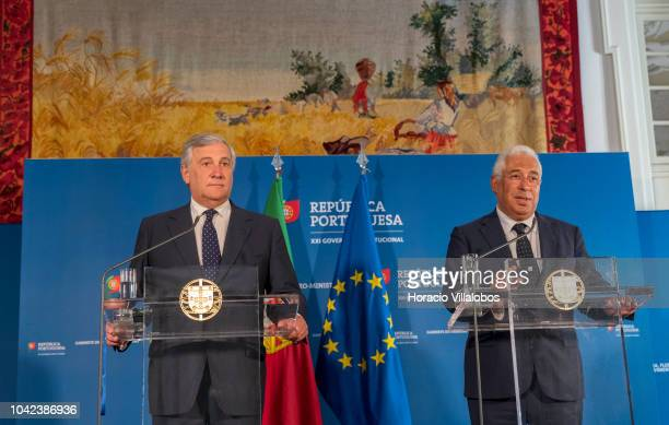 Portugal's Prime Minister Antonio Costa and EU Parliament President Antonio Tajani during the press conference at the end of their meeting in the PM...