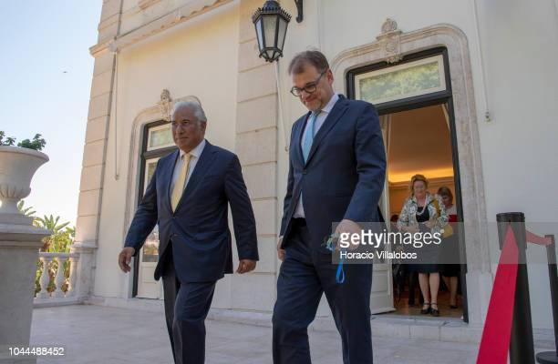 Portugal's Prime Minister Antonio Costa and the Prime Minister of Finland Juha Sipila arrive to deliver remarks to the press at the end of the...
