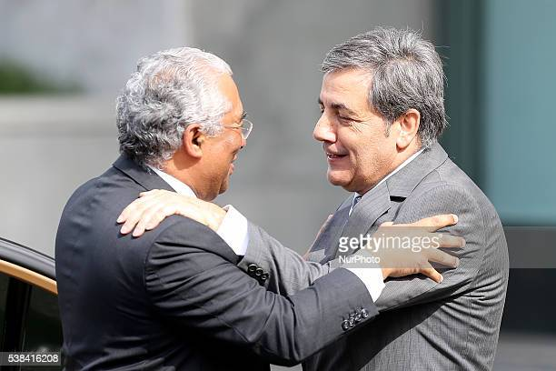 Portugal's Prime Minister Antonio Costa arrives at FPF Cidade do Futebol and is congratulated by FPF's President Fernando Gomes before the start of...