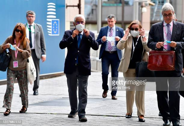 Portugal's Prime Minister Antonio Costa arrives for the EU summit on a coronavirus recovery package at the European Council building in Brussels on...