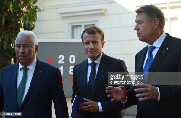 Portugal's Prime Minister Antonio Costa, France's President Emmanuel Macron and Romania's President Klaus Iohannis arrive at the Mozarteum University...