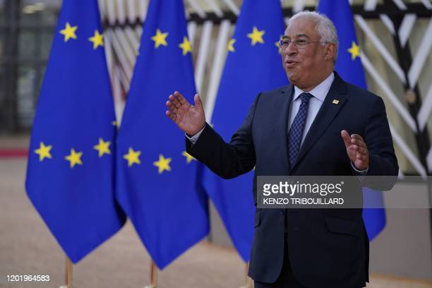 Portugal's Prime Minister Antonio Costa gestures as he addresses media representatives while he arrives for a special European Council summit in...